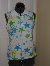 Palm Harbour Knit Shirt Size Ps Stretch White Blue Green Starfish Inwt - $15.79