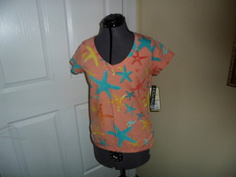 Palm Harbour Knit Shirt Size Ps Stretch Salmon Multi Color Starfish Inwt - $15.79