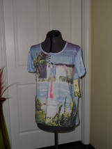 Palm Harbour Knit Shirt Top Size S Blue Tropical Print Nwt - $16.58
