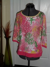 Palm Harbour Knit Top Size S Stretch Pink Seascape Beaded Nwt - $16.98