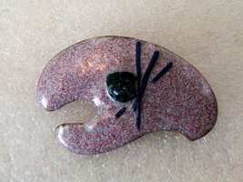 Vintage Artist Palette Pin. Lobster Claw Pin. Enamel On Copper. - $9.00