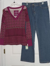 BASICS JEANS SIZE 14 & CURRANTS SHIRT TOP SIZE L NWT - $28.99