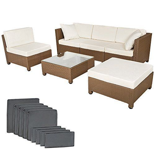 Multiform Garden Sofa Set Polyrattan Patio Balcony Furniture Cushioned Brown image 1