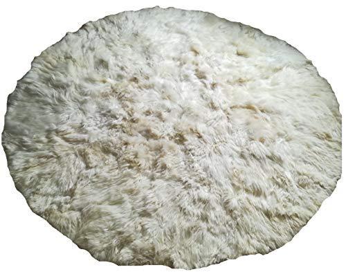 Alpakaandmore White Alpaca Fur Carpet Round Without Border (250 cm / 8.20) - $811.80