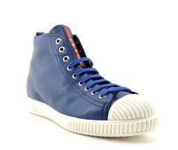 Prada Sneakers Woman Shoes Blue Leather Size 10.5 New - $222.75