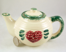 Small spongeware teapot for one red heart desig... - $12.00