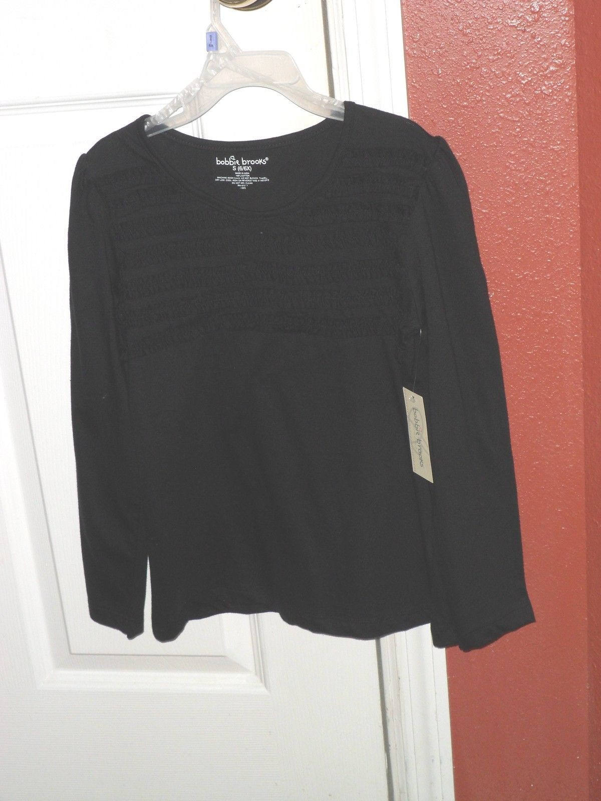 4d1dc3e5ea5a8 BOBBIE BROOKS KNIT TOP SHIRT SIZE M 7 8 BLACK RICK RACK NWT -  9.99