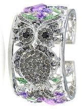 Owl Silver tone Rhinestone Purple Rose Flower Cuff Bracelet  - $12.50