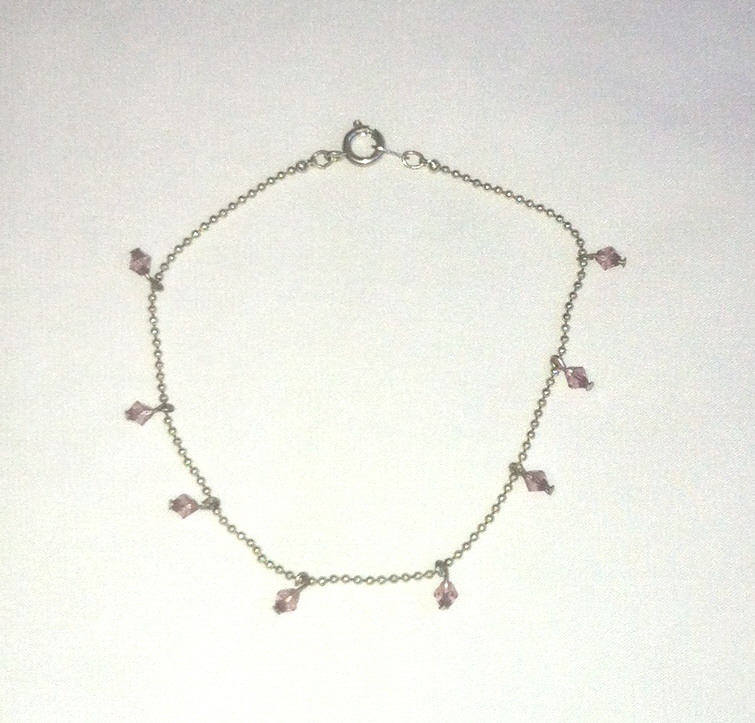 Silver tone bracelet with pink beads updated pic