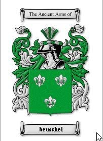BEUSCHEL SURNAME COAT OF ARMS PRINT - GENEALOGY Bonanza