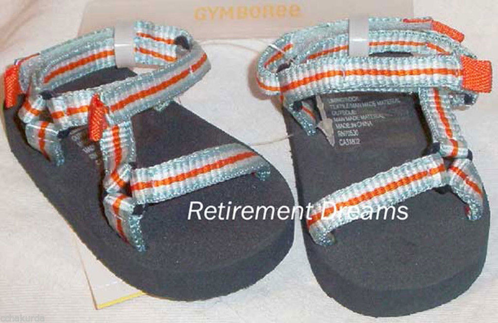 GYMBOREE Sandals Crib Shoes size 1 NEW AT THE BEACH Blue Orange White 01