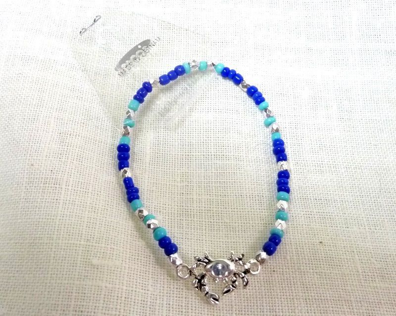 Stretch Beaded Bracelet Costume Fashion Teal Blue Silver Brown Beads Crab Charm