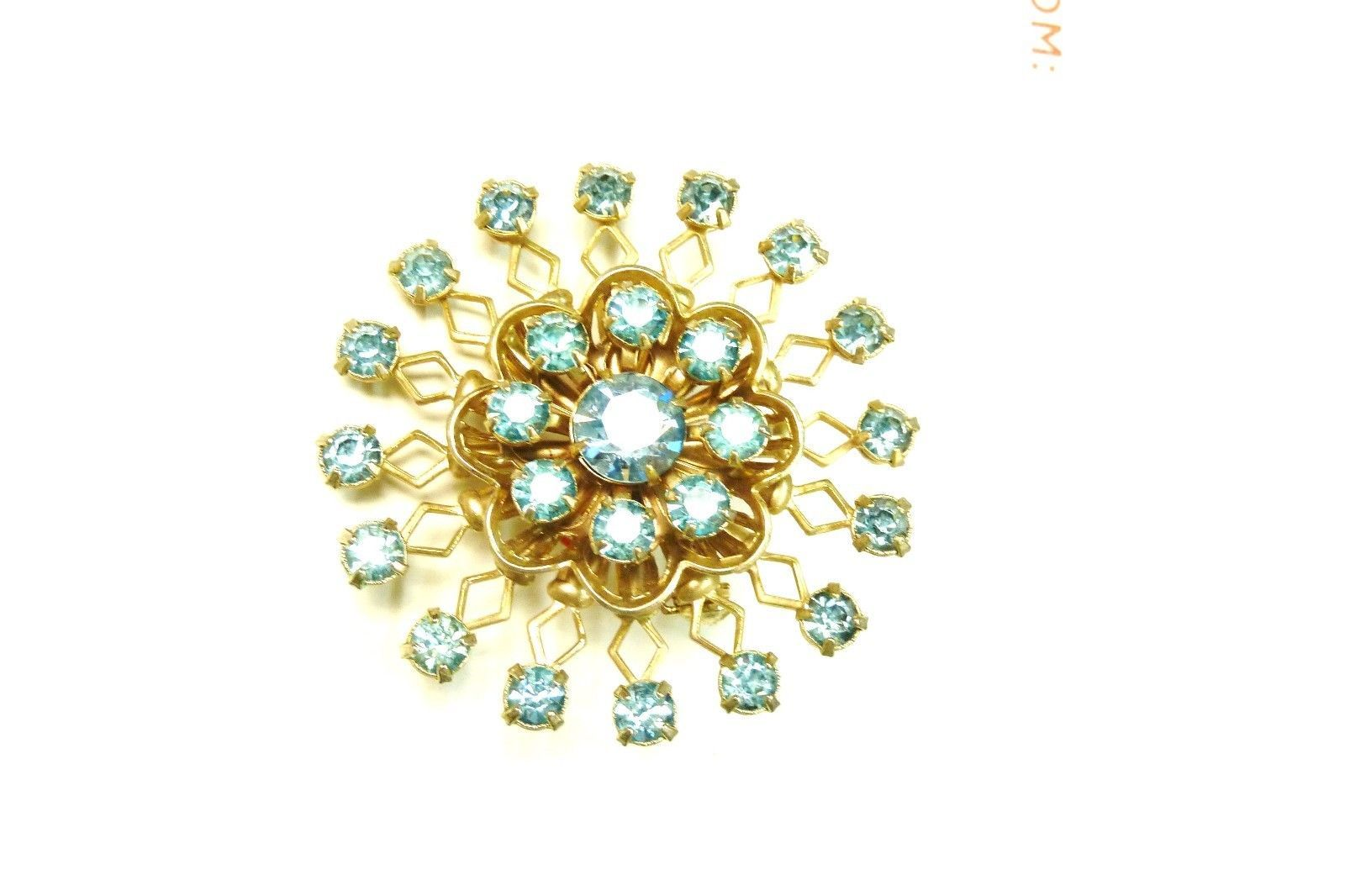 Vintage Blue Rhinestone Round Gold Plated Costume Fashion Pin Brooch image 3