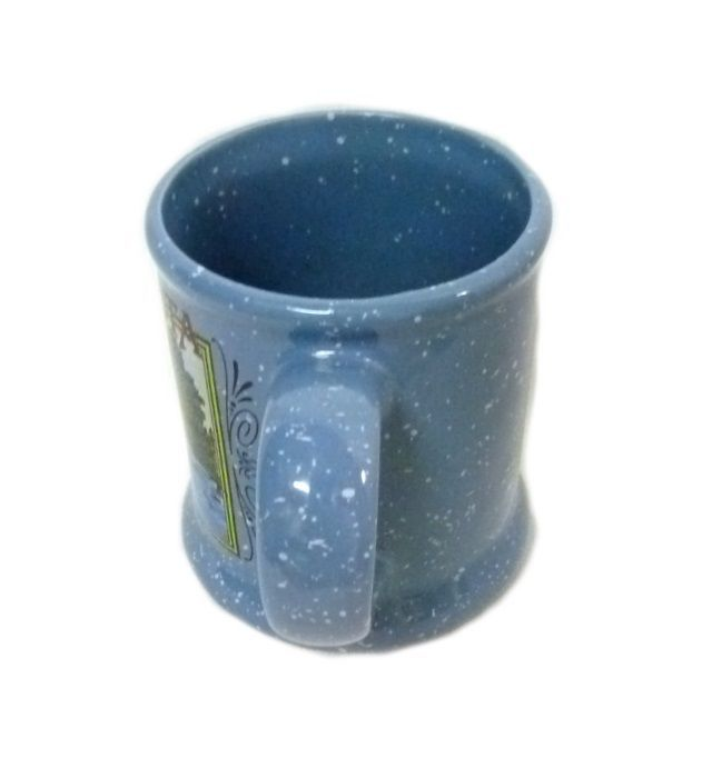 Vintage Common Loon Bird Water Cat tails Picture Blue Speckle Cup Mug Souvenir