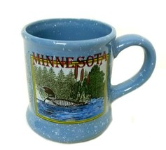 Vintage Common Loon Bird Water Cat tails Picture Blue Speckle Cup Mug Souvenir image 3