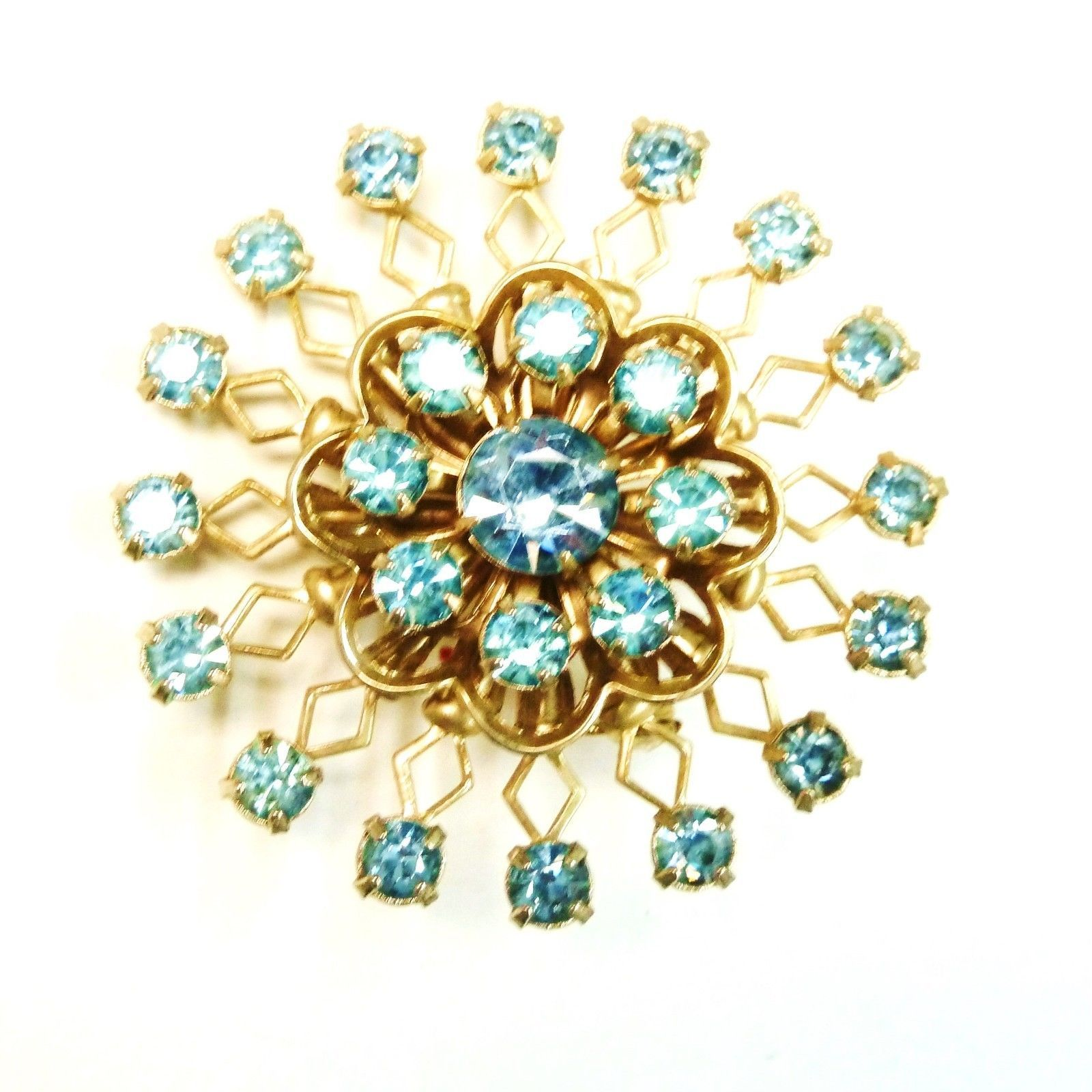 Vintage Blue Rhinestone Round Gold Plated Costume Fashion Pin Brooch image 4