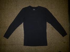 Jerzees Waffle Weave Crewneck Crew Black Long Sleeve Thermal Shirt Medium M - $25.51 CAD