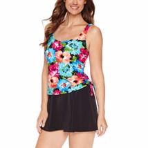 Le Cove Swim Dress Size 20W PLUS Floral Blue Pink Orange Black $104 New - $49.49