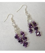 Purple Beaded Earrings Silver Metal Chain Handmade Unique Dangle Pierced... - $35.00