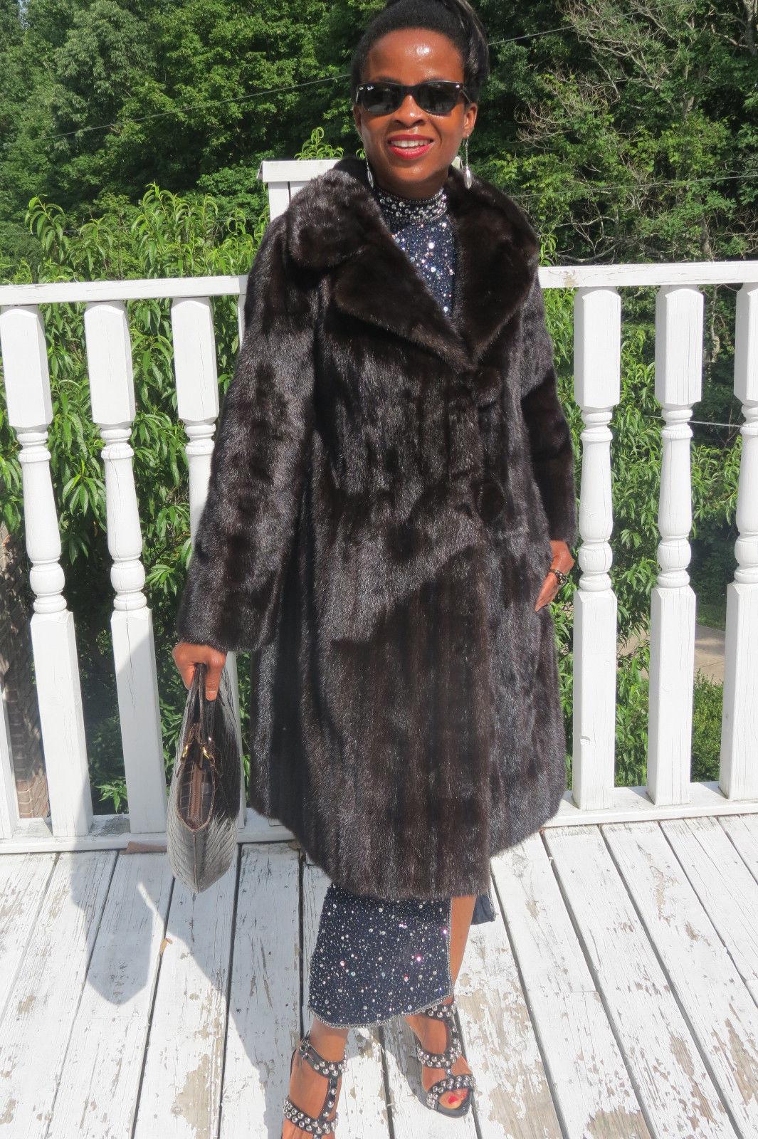 Designer Full Length Sable brown black hue Mink Fur Coat Jacket stroller S 2-6
