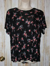Womens Pretty Black Floral A&I Short Sleeve Shirt Size 3X excellent - $7.91