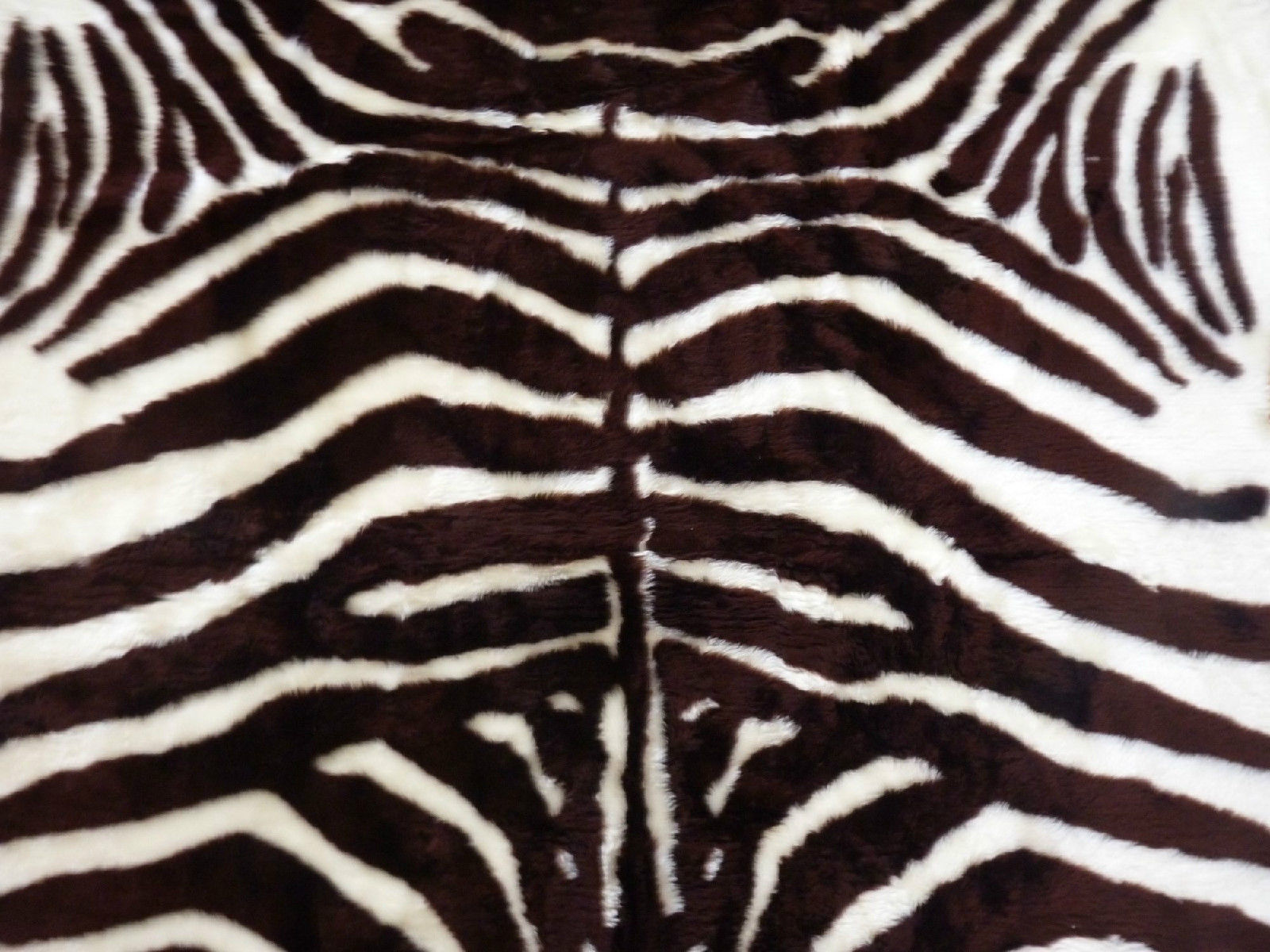 Faux fur zebra hide rug from france 3 x 5 brown white fake zebra skin rug leather fur - Faux animal skin rugs ...