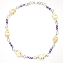 NECKLACE THE ALUMINIUM LONG 18 7/8in WITH SHELL HEMATITE AND CRYSTALS STRASS image 2