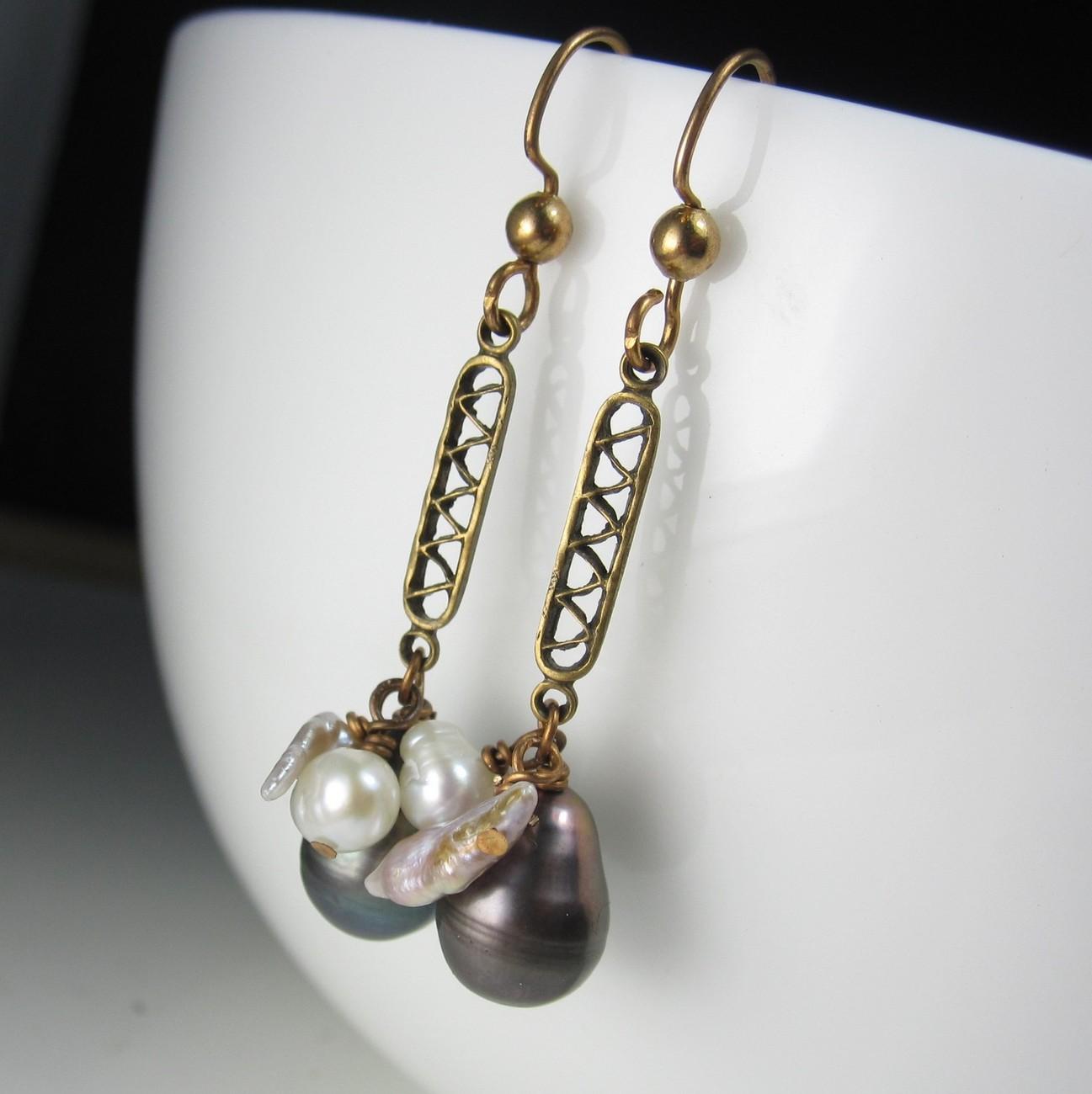 Baroque Pearls on Brass Earrings