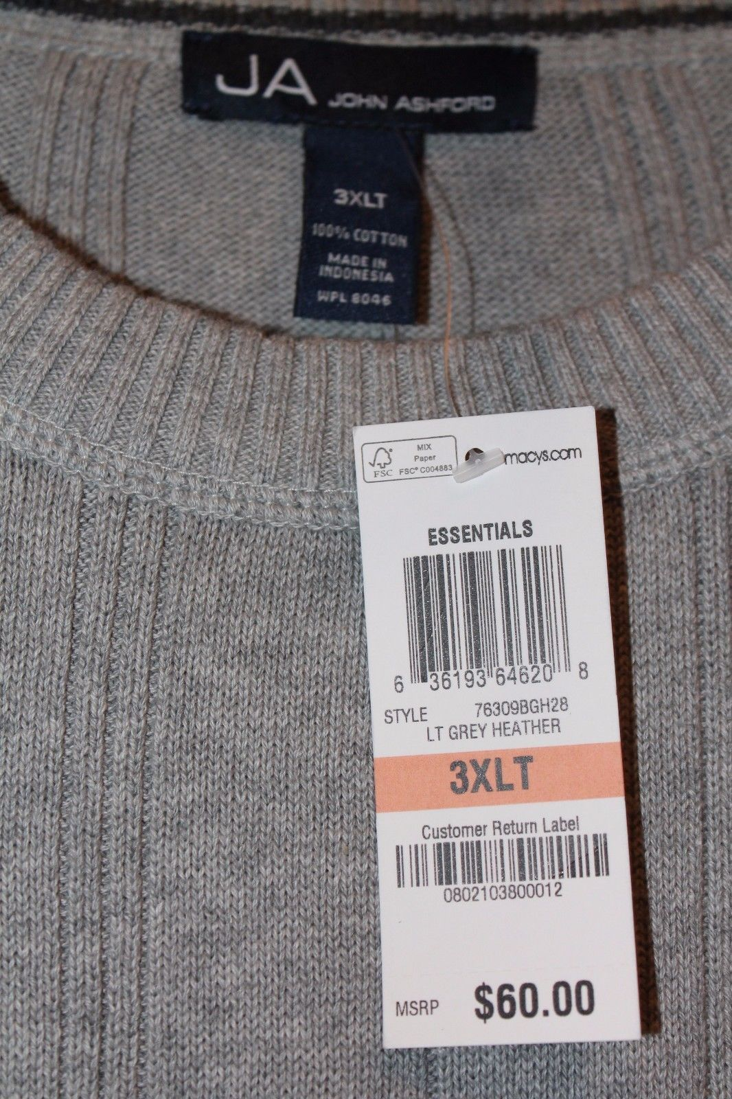 NEW WITH TAGS MENS JOHN ASHFORD SIZE 3XB 3XL RED RIBBED CREW NECK SWEATER