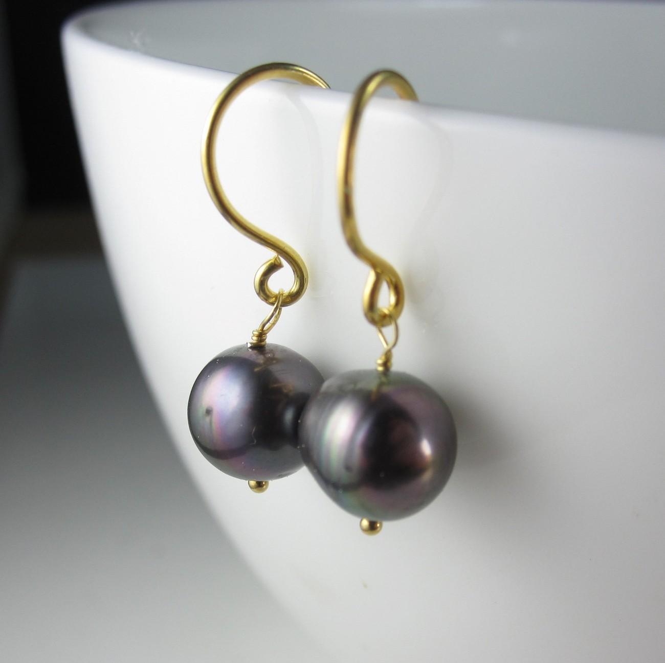 Purplish Rainbow Pearl Earrings