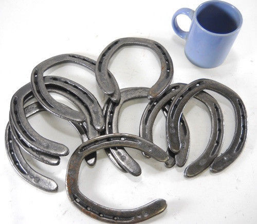 10 pc New Cast Iron Authentic Horseshoes for Crafting Size 2 Decor Barn Stable for sale  USA