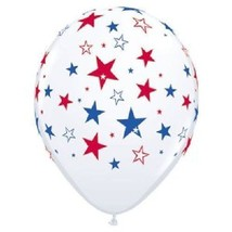 12 Patriotic Red White Blue Stars Balloons Qualatex Made USA Election Da... - $9.79