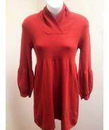 Leo Nicole M Sweater Dress Orange Puffed Sleeves Mini Stretch Tunic - $21.54