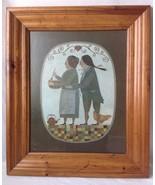 Framed R Davey Whats Cooking Folk Art Print Primitive Pine Frame Pilgrim... - $39.95