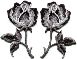 Black roses pair flowers gothic boho rock & roll applique iron-on patches S-1035 - $3.26