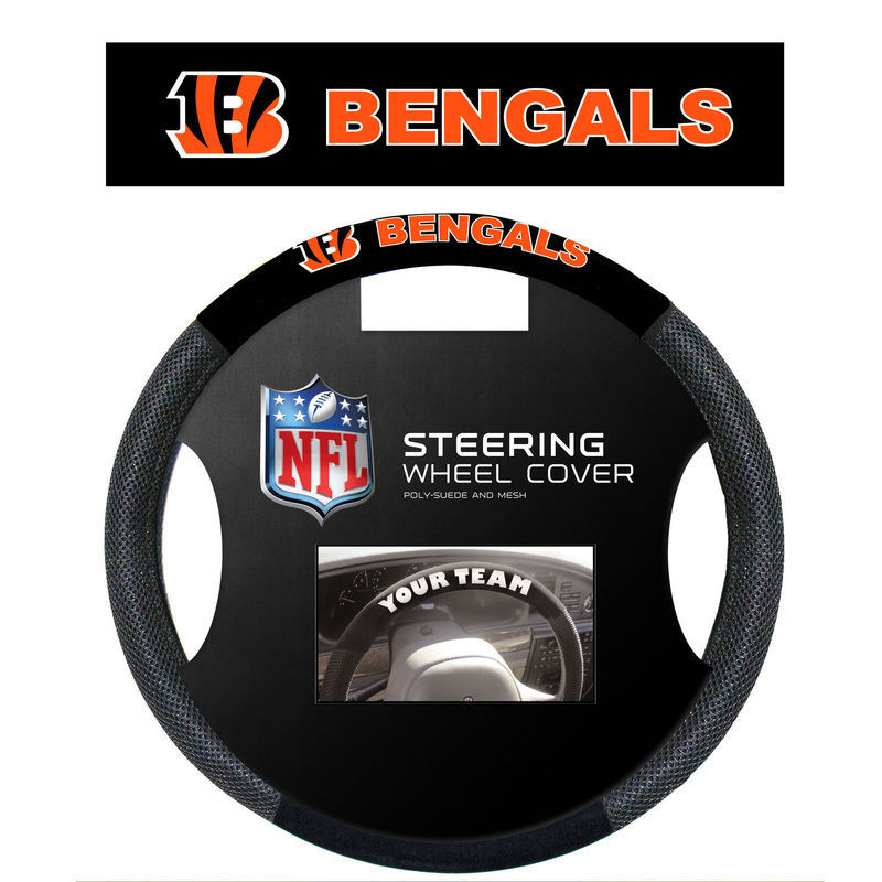 CINCINNATI BENGALS SUEDE MESH CAR STEERING WHEEL COVER NFL FOOTBALL