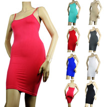 Extra Long Seamless Solid Tunic Mini DRESS Spaghetti Camisole Plain Tank... - $6.50
