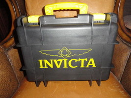 Invicta watch carrying case in grey with yellow handles holds 8 watches - $145.00