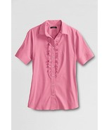 NEW LANDS END WOMENS PLUS SIZE 32W PINK WORK CAREER RUFFLE BLOUSE SHIRT TOP - $9.74