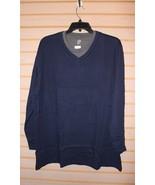 NEW JOHN ASHFORD SIZE 3XB 3XL V NECK W INSERT NAVY BLUE DRESS WORK CASUA... - $16.44