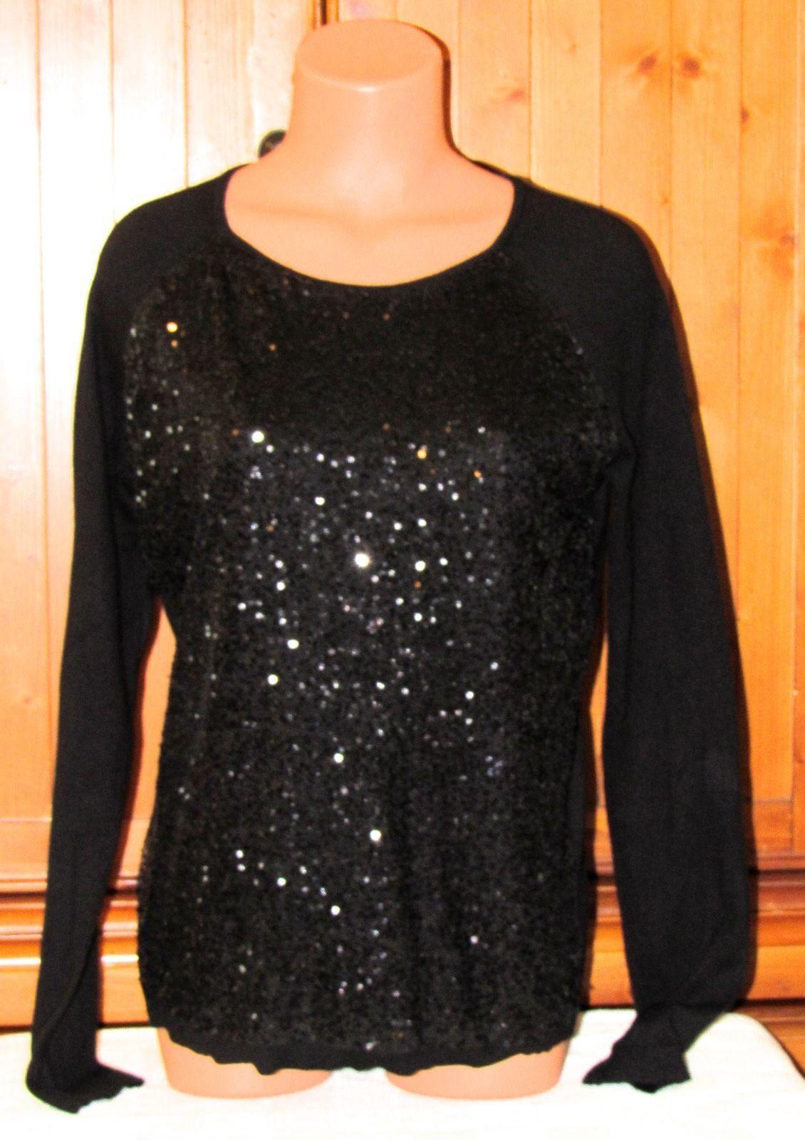 Elle Black Women's Black Pull-over Scoop Neck Cotton Sequin Sweater S: L