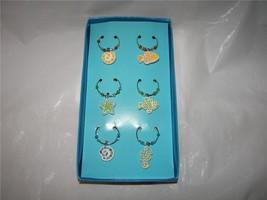 Mosaic Fish Starfish Shells Wine glass markers charms 6PC NIB - $9.00
