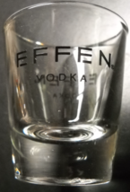 Effen Vodka Shot Glass Clear Glass with Black Print Logo Anchor Hocking - $6.99