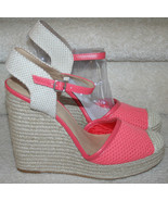Lucky Brand Wedge Closed Toe Espadrille NWOB Reandra Cayenne Combo Coral... - $44.99