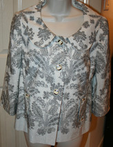 Ann Taylor LOFT Women's Grey Off White Silk Linen Jacket Blazer Floral Sz 6 - $49.99