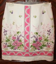 Ann Taylor Loft White Pink Lined Linen Skirt Floral Print Size 2 - $29.99