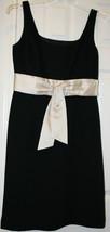 Ann Taylor Black Shift Dress 8P Sleeveless Champagne Beige Sash Chiffon ... - $49.99