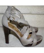 Ralph Lauren Beige Faux Reptile Wood Heels Shoes 8M Platform Strappy San... - $49.49