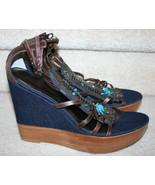Pelle Moda Denim Wedge $180 Strappy Sandals Heels 9M Turq Stones Sequins... - $69.99