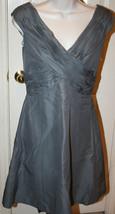 Anthropologie Mirror of Venus $238 Grey Gray Ruched Dress Sz 2 Cotton Si... - $99.99